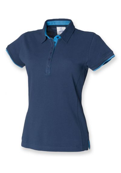 Front Row Ladies Contrast Cotton Pique Polo Shirt - myworkwear.co.uk