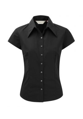 Russell Collection Ladies Cap Sleeve Tencelu00ae Fitted Shirt