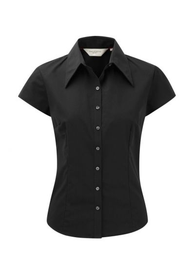 Russell Collection Ladies Cap Sleeve Tencel® Fitted Shirt