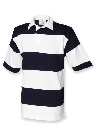 Front Row Short Sleeve Sewn Stripe Rugby Shirt