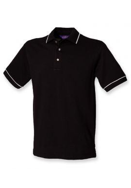Henbury Contrast Single Tipped Cotton Pique Polo Shirt