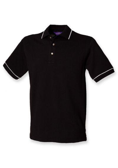 Henbury Contrast Single Tipped Cotton Pique Polo Shirt