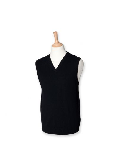 Henbury Lambswool Sleeveless V Neck Sweater