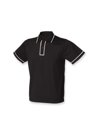 SF Men Contrast Piped Cotton Pique Polo Shirt