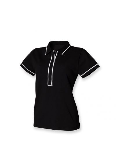 SF Ladies Contrast Piped Cotton Pique Polo Shirt