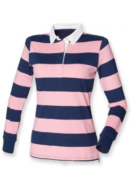 Front Row Ladies Striped Rugby Shirt