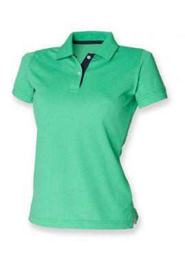 Henbury Ladies Contrast Poly/Cotton Pique Polo Shirt
