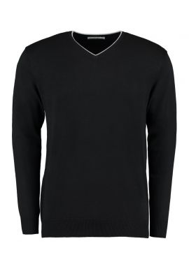 Kustom Kit Contrast Arundel V Neck Sweater