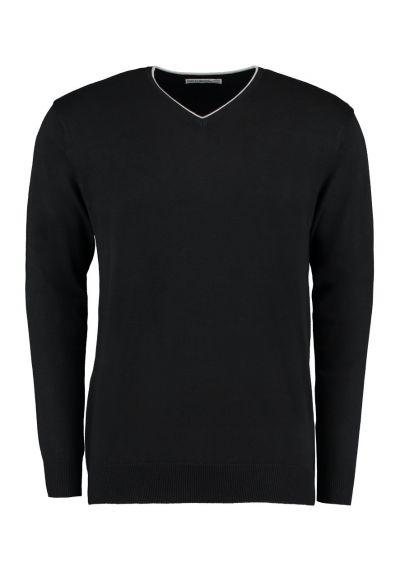 Kustom Kit Contrast Arundel V Neck Sweater