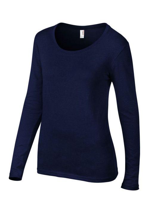 Anvil ladies featherweight long sleeve scoop neck t shirt for Long sleeve scoop neck shirt