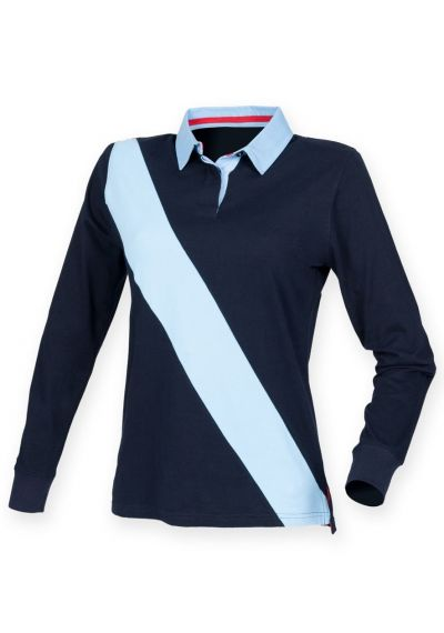 Front Row Ladies Diagonal Stripe House Rugby Shirt
