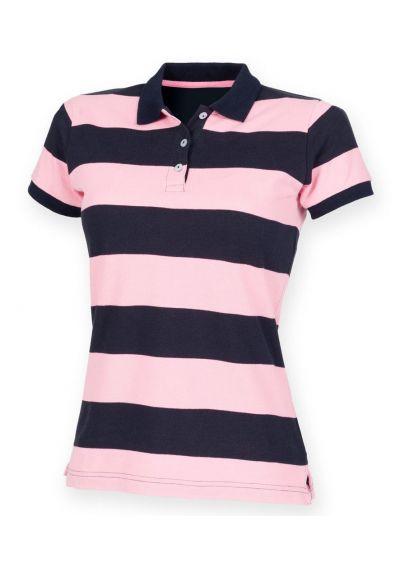 Front Row Ladies Striped Cotton Pique Polo Shirt