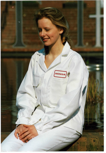 Holly Worthington wearing Honda Workwear designed and manufactured by JM Worthington