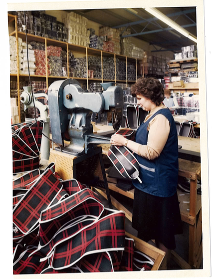 Pat making saddle bags circa 1985